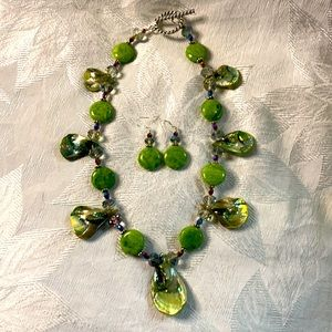 Green mother of pearl necklace and earring set